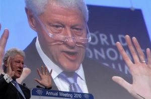Former U.S. President and UN Special Envoy to Haiti Bill Clinton addresses delegates at the World Economic Forum (WEF) in Davos January 28, 2010. REUTERS/Arnd Wiegmann