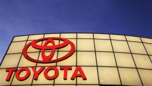 The Toyota logo is lit up above Boch Toyota's dealership in Norwood, Massachusetts in this January 27, 2010 file photo. Credit: REUTERS/Brian Snyder