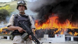 A Mexican soldier stands guard as blocks of marijuana, weighing a total of 46 tons, are incinerated at a military base in the border city of Tijuana May 11, 2010. REUTERS/Jorge Duenes