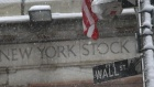 Snow falls on a Wall St. street sign in front of the New York Stock Exchange, February 25, 2010. U.S. stocks recovered most of their losses but ended lower on Thursday after weak employment and durable goods data added to recent worries about the strength of the economic recovery. REUTERS/Brendan McDermid