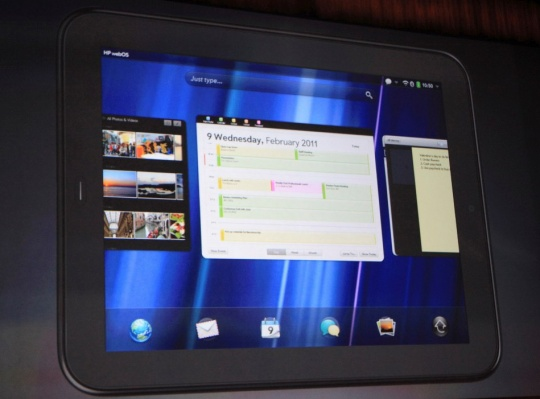 The Palm TouchPad is shown on a screen during a media presentation at the Herbst Pavilion at the Fort Mason Center in San Francisco, February 9, 2011.REUTERS/Beck Deifenbach 