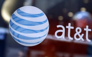 The at&amp;t logo is seen at their store in Times Sqaure in New York April 21, 2010. REUTERS/Shannon Stapleton