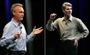 A combination of file photos shows Bertrand Serlet, senior vice president of OSX software at Apple Inc, (L) and Craig Federighi, vice president of Mac OS at Apple Inc (R) speaking at the Apple Inc's Worldwide Developers Conference in San Francisco on June 8, 2009. REUTERS/Robert Galbraith/Files