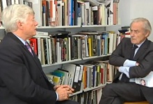 Geoffrey Robertson QC and Sir Harold Evans are pictured in a screengrab. REUTERS/TV