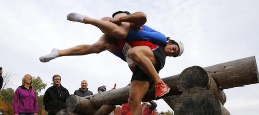 Wife carrying competition brings Finnish whimsy to Maine