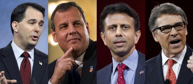L to R: Scott Walker, governor of Wisconsin; Chris Christie, governor of New Jersey; Bobby Jindal, governor of Louisiana; Rick Perry, governor of Texas. REUTERS/Files