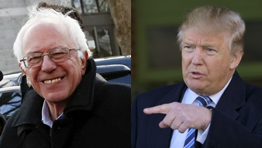Bernie Sanders and Donald Trump are seen in this combination photo during the New Hampshire primary on February 9, 2016. REUTERS/Shannon Stapleton/Rick Wilking