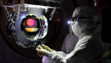 A Laser Interferometer Gravitational-wave Observatory (LIGO) technician performs a Large optic inspection in this undated photo released by Caltech/MIT/LIGO Laboratory on February 8, 2016.