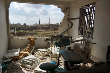 A view shows a damaged clinic after airstrikes by pro-Syrian government forces in the rebel held al-Ghariyah al-Gharbiyah town.  REUTERS/Alaa Al-Faqir