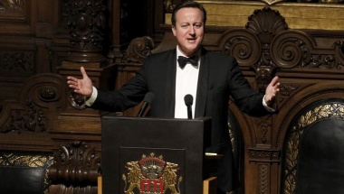 Britain's Prime Minister David Cameron speaks during the traditional historic banquet ''Matthiae-Mahlzeit'' (St. Matthew's Day Banquet) at the town hall in Hamburg February 12, 2016. Reuters/Morris Mac Matzen
