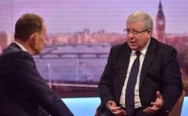 Patrick McLoughlin (R), chairman of Britain's Conservative Party is seen speaking on the BBC's Andrew Marr Show in this photograph received via the BBC in London, Britain July 24, 2016. Jeff Overs/Courtesy of the BBC/Handout via REUTERS