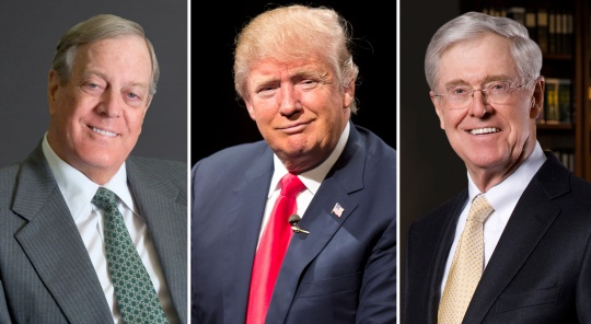 Donald Trump and the Koch brothers in a combination image.