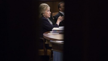 U.S. Democratic presidential candidate Hillary Clinton is shown testififying before the House Select Committee on Benghazi on Capitol Hill in Washington October 22, 2015. REUTERS/Joshua Roberts