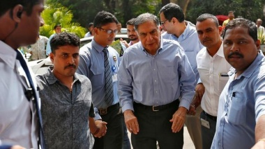 Tata Sons Chairman Ratan Tata arrives in his office after attending a meeting at the company's head office in Mumbai