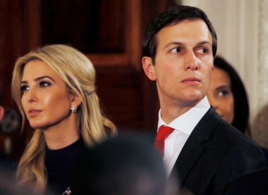 Ivanka Trump and her husband Jared Kushner watch as German Chancellor Angela Merkel and U.S. President Donald Trump hold a joint news conference in the East Room of the White House in Washington, U.S., March 17, 2017. REUTERS/Jim Bourg/File Photo