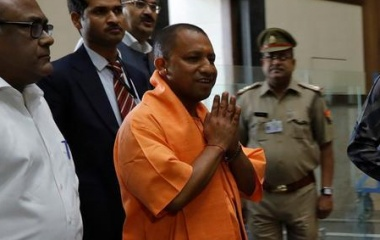Yogi Adityanath, newly appointed Chief Minister of India's most populous state of Uttar Pradesh arrives to attend a meeting with government officials at Lok Bhavan in Lucknow, India March 20, 2017. REUTERS/Pawan Kumar