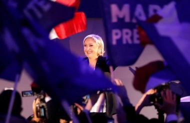 Marine Le Pen, French National Front (FN) political party leader and candidate for French 2017 presidential election, celebrates after early results in the first round of 2017 French presidential election, in Henin-Beaumont, France, April 23, 2017. REUTERS