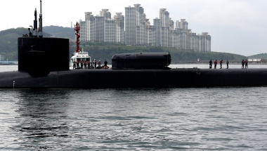 Ohio-class guided-missile submarine USS Michigan arrives for a regularly scheduled port visit while conducting routine patrols throughout the Western Pacific in Busan, South Korea, April 24, 2017. Jermaine Ralliford/Courtesy U.S. Navy/Handout via REUTERS