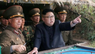 North Korean leader Kim Jong Un inspects the defence detachment on Jangjae Islet and the Hero Defence Detachment on Mu Islet, in this undated photo released by North Korea's Korean Central News Agency (KCNA) on May 5, 2017. KCNA/Handout via REUTERS