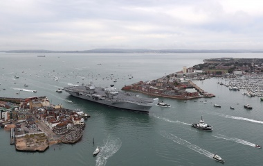 HMS Queen Elizabeth sails into home port for first time