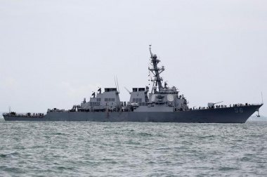 Ten missing after U.S. warship, tanker collide near Singapore