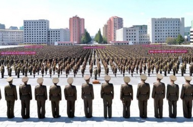 Members of the People's Security Council take part an anti-U.S. rally, in this September 23, 2017 photo released by North Korea's Korean Central News Agency (KCNA) in Pyongyang. KCNA via REUTERS