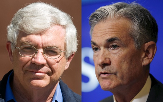Undated combination photo of John B. Taylor (L) and Jerome Powell. REUTERS/Price Chambers/Carlos Barria