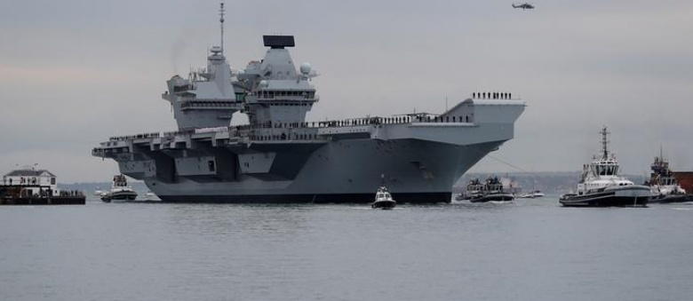 UK's biggest warship HMS Queen Elizabeth sails into home port