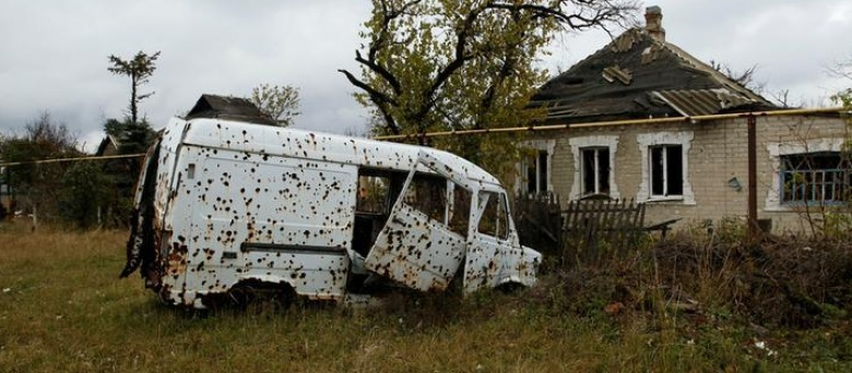 War-scarred neighbourhoods in rebel-held Donetsk