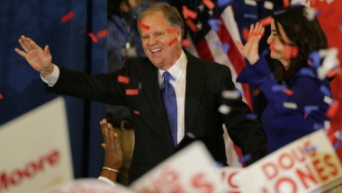 Democratic Alabama U.S. Senate candidate Doug Jones and wife Louise acknowledge supporters at the election night party in Birmingham, Alabama, U.S., December 12, 2017. REUTERS/Marvin Gentry