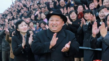 North Korean leader Kim Jong Un reacts as people applaud during his visit to the newly-remodeled Pyongyang Teacher Training College, in this photo released by North Korea's Korean Central News Agency (KCNA) in Pyongyang on Jan 17, 2018. KCNA/via REUTERS