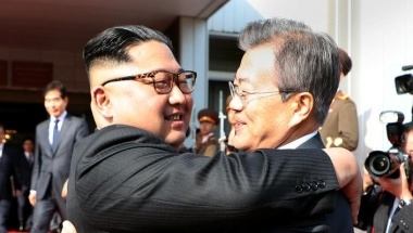 South Korean President Moon Jae-in bids farewell to North Korean leader Kim Jong Un as he leaves after their summit at the truce village of Panmunjom, North Korea, in this handout picture provided by the Presidential Blue House on May 26, 2018. Reuters