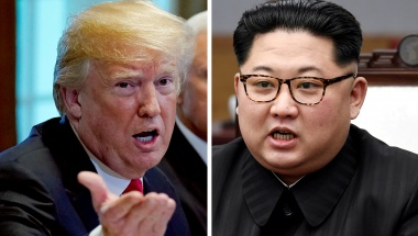FILE PHOTO: A combination photo shows U.S. President Donald Trump and North Korean leader Kim Jong Un (R) in Washignton, DC, U.S. May 17, 2018 and in Panmunjom, South Korea, April 27, 2018 respectively. REUTERS/Kevin Lamarque and Korea Summit Press Pool/Fi