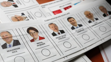 Ballots for Turkey's presidential and parliamentary elections are pictured at a polling station in Istanbul