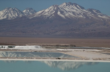 A view of brine pools of a lithium mine on the Atacama Salt Flat