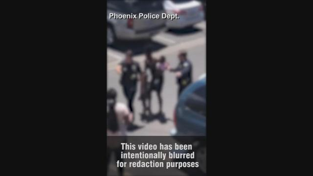 24-year-old Iesha Harper and her 22-year-old fiance Dravon Ames said on Monday that the apologies by the Phoenix mayor and the police chief were a 'slap in the face' because the police officers who pointed a gun at them in a video that has gone viral are still working. The parents' attorney Sandra Slaton said the actions by the police were 'truly barbaric'. Rough Cut (no reporter narration).