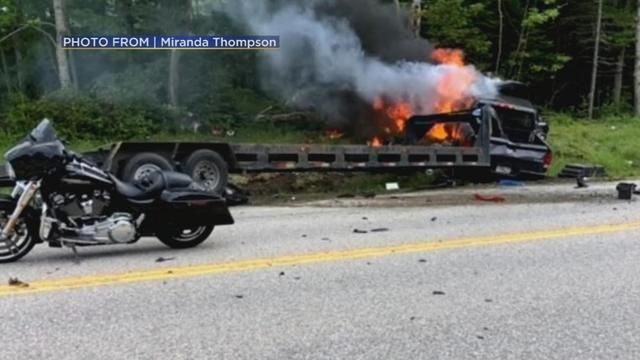 New Hampshire's Deputy Attorney General Jane Young has named the seven people killed on Friday when a pickup truck crashed into members of a motorcycle club for U.S. Marine veterans. Rough Cut (no reporter narration).