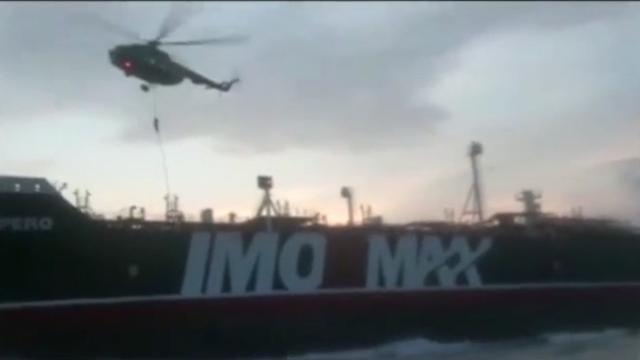 British warship HMS Montrose radioed an Iranian patrol vessel to warn it against boarding the Stena Impero, according to radio messages provided to Reuters by maritime security firm Dryad Global. Rough cut (no reporter narration).
