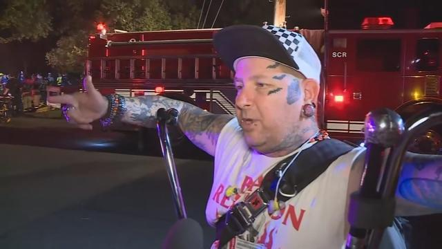 Passenger, Thumper Eby says there was no warning before the Sacramento Regional Trainsit light-rail train went off the tracks Thursday night outside Sacramento, California.Sacramento Fire Captain Keith Wade confirms 27 people were injured, but there were no fatalities. Rough Cut. (no reporter narration)