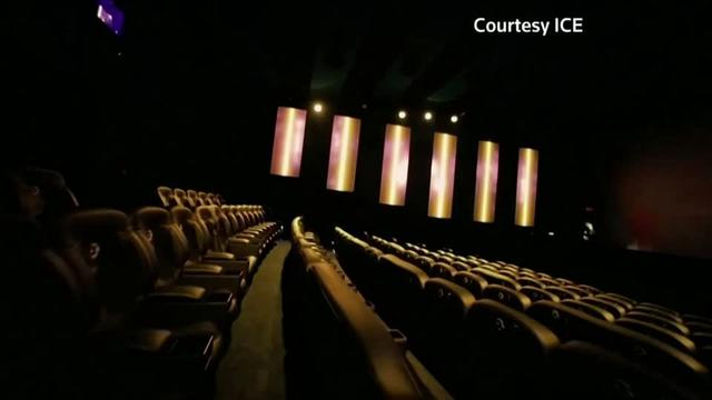 Moviegoers have been offered rolling seats, 3D glasses and even rain and smells in recent years as theater chains seek to fill seats. Now comes an immersive experience that gets its U.S. launch in Los Angeles next week in time for the debut of 'Jumanji: The Next Level'. Michelle Hennessy reports.