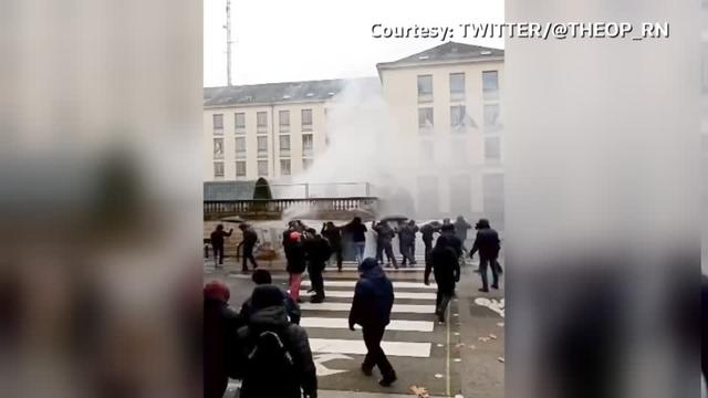 French riot police fired tear gas at protesters in Nantes, as strikes against President Emmanuel Macron's plans to reform pensions took hold across France.