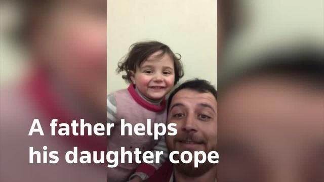 Daily air strikes and bombs prompted Syrian father Abdullah Mohammad to come up with a new way to help his daughter Salwa adapt to the sounds of war.