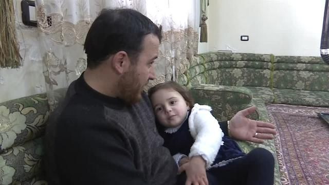 Syrian video journalist Abdallah al-Muhammad has turned the experience of air strikes and shelling near his home in northwest Syria's Idlib into a game for his three-year old daughter to help her cope with the trauma. Emer McCarthy reports.