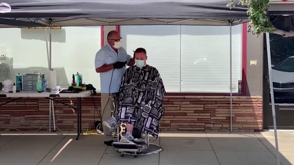 California Barbershop Moves Business Outside Reuters Video