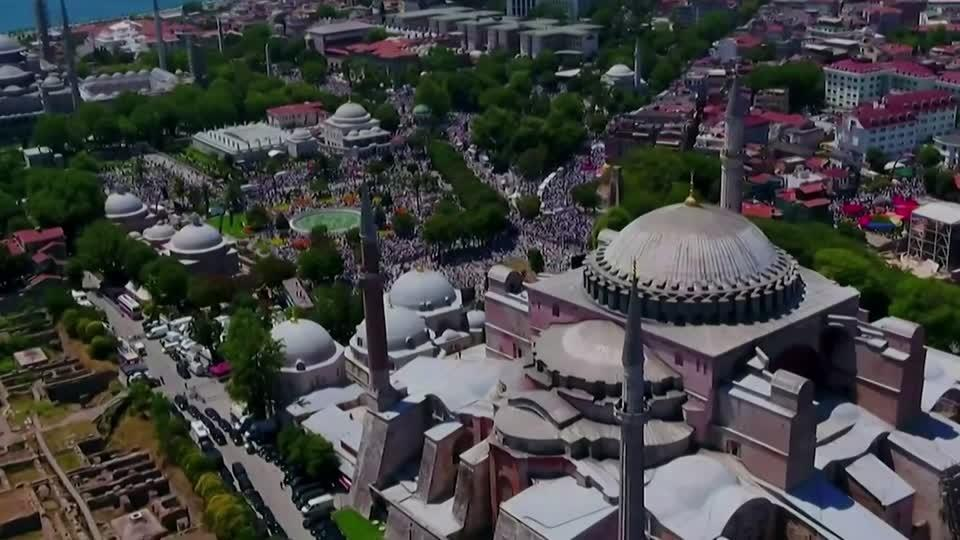 Erdogan Joins Thousands For First Prayers At Hagia Sophia Reuters Video