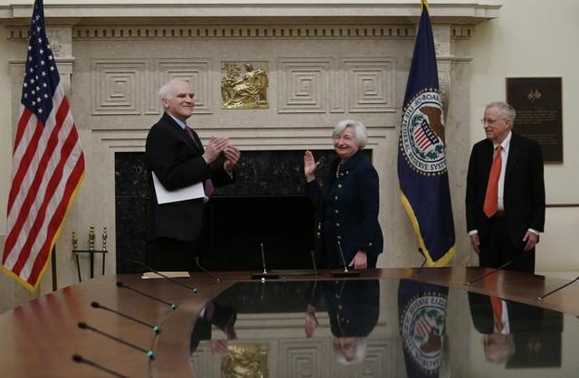 yellen sworn in as first woman fed chair reuters