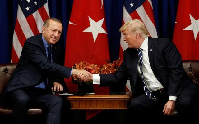 FILE PHOTO - U.S. President Donald Trump meets with President Recep Tayyip Erdogan of Turkey during the U.N. General Assembly in New York, U.S., September 21, 2017. REUTERS/Kevin Lamarque