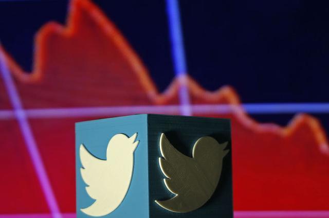 Un logotipo de Twitter impreso en 3D se ve delante de un gráfico del movimiento accionario. Imagen ilustrada realizada en Zenica, Bosnia y Herzegovina, 3 de febrero de 2016. REUTERS/Dado Ruvic