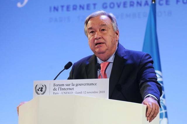 El secretario general de la ONU, Antonio Guterres, pronuncia un discurso durante la sesión de apertura del Foro de Gobernanza de Internet (IGF) en la sede de la UNESCO en París, Francia, 12 de noviembre de 2018. Ludovic Marin/Pool a través de REUTERS