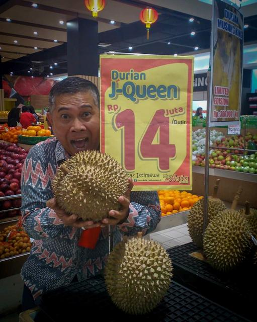Man Poses With Queen Durian Jakarta Indonesia January An Indonesian Variety Of The
